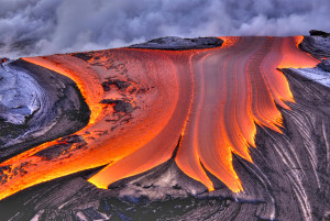 Lava flows into the Pacific Ocean